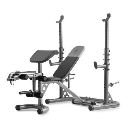 golds gym xrs 20 adjustable olympic workout bench with squat rack leg